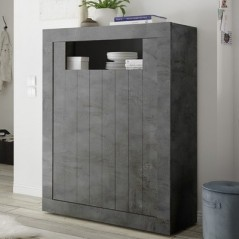 Meuble bar 2 portes Lille gris anthracite