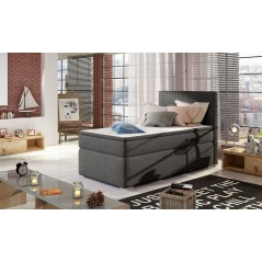 Lit adulte boxsprings 1 personne Maryland gris anthracite