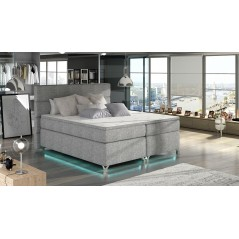 Lit adulte boxsprings avec LED Utah gris clair