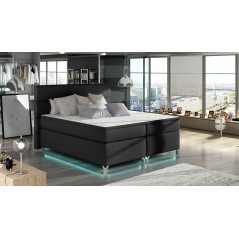 Lit adulte boxsprings avec LED Utah gris anthracite
