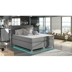 Lit adulte boxsprings avec LED Utah gris
