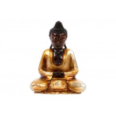 Bouddha assis en bois 40 cm or