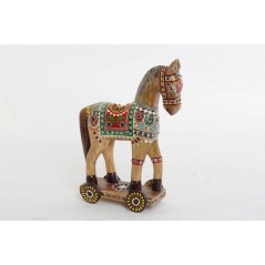 Cheval en bois 30 cm multicolore