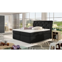 Lit adulte boxsprings 2 personnes Vigo gris anthracite
