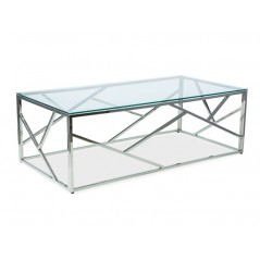 Table basse A3 transparent et chrome