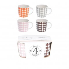 Ensemble de 4 mugs en céramique multicolore