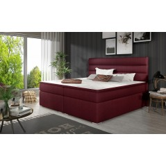 Lit adulte boxsprings Vérone kaki bordeaux