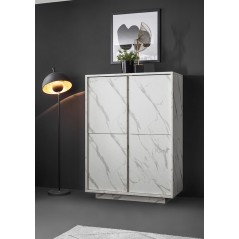 Meuble bar 4 portes Courtney effet marbre blanc