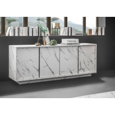 Buffet 4 portes Courtney effet marbre blanc
