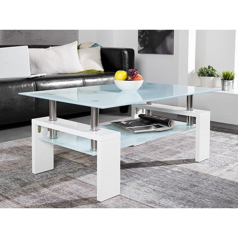 Table Basse Blanche Verre.Table Basse Blanc Laque Table Basse Verre Promotion Chez Zymahome Fr