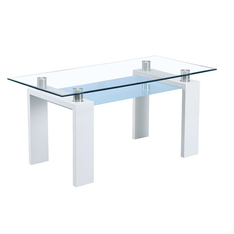 Table De Salle à Manger Rectangulaire Design Focus Laquée Blanc Brillant